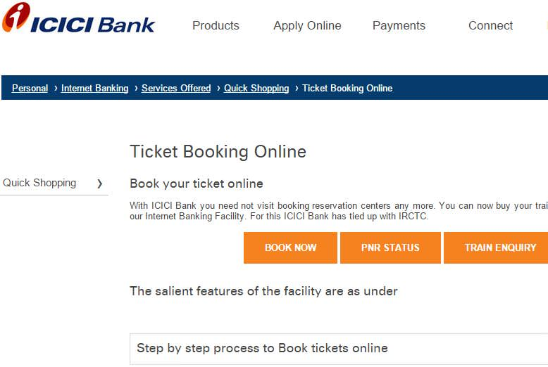 ICICI Bank book tickets